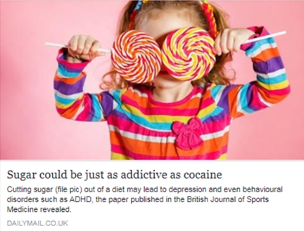 Sugar could be just as addicitve as cocaine